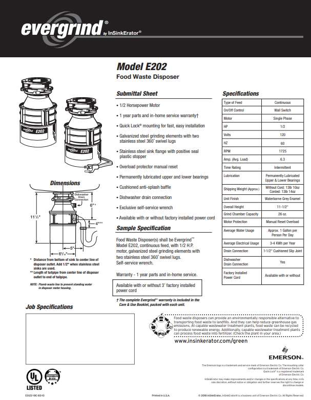 Emerson Evergrind E202 specifications