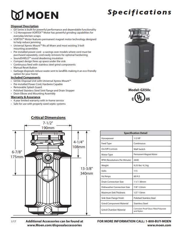 Moen Half Horsepower Garbage Disposal GX50C specification