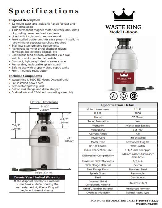 Waste King L-8000 specification